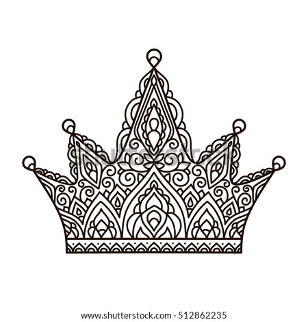 Vector Illustration Outline Lace Pattern Crown Coloring Page Print Hand