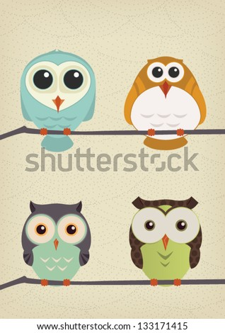Vector Illustration Owls set - stock vector