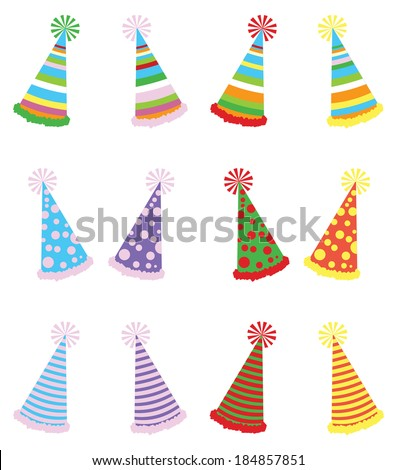 Vector illustration pack of various party hats with three different textures and four different color variations - stock vector