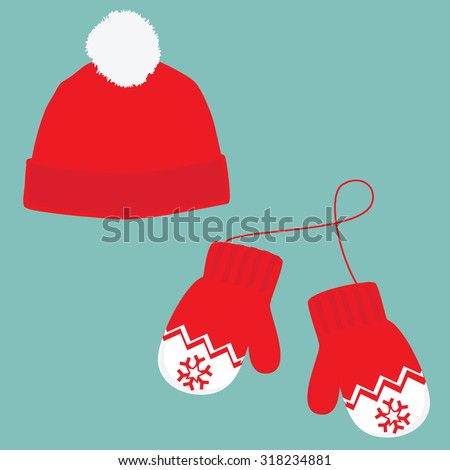 Vector illustration pair of knitted christmas mittens and red winter hat with pompom on blue background. Christmas greeting card with mittens and winter hat - stock vector
