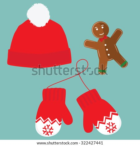 Vector illustration pair of knitted christmas mittens, christmas cookie and red winter hat with pompom on blue background. Christmas greeting card with mittens  - stock vector