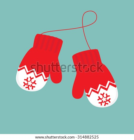 Vector illustration pair of knitted christmas mittens on blue background. Mitten icon. Christmas greeting card with mittens - stock vector