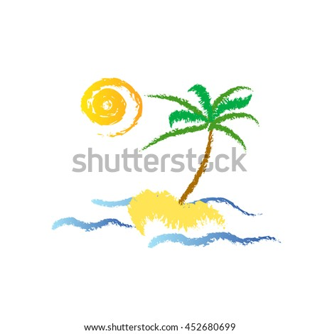 Vector illustration - palm-tree on the tropical island - stock vector