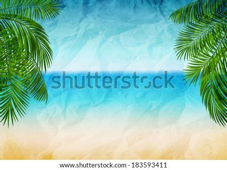 Vector illustration panorama of the sea coast with branches of palms