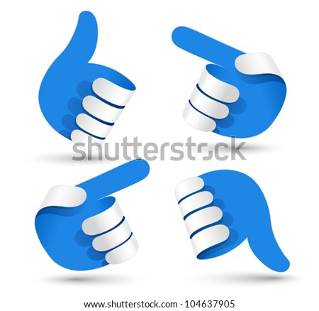 Vector illustration paper hands. - stock vector