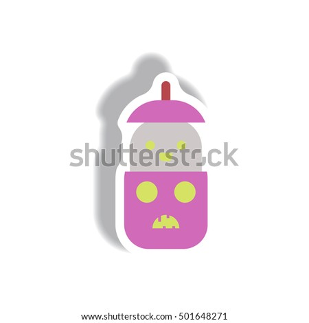 Vector illustration paper sticker Halloween icon pumpkin and ghost