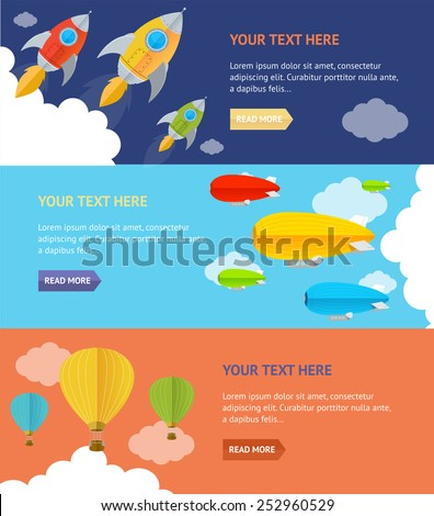 Vector illustration. Parachute, hotair and rocket options Banner, card - stock vector