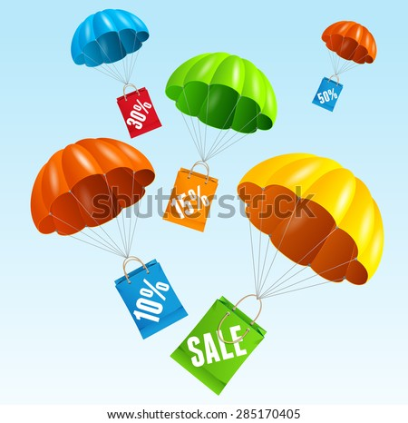 Vector illustration parachute with paper bag sale in the sky. The concept of seasonal sales. Flat Design - stock vector