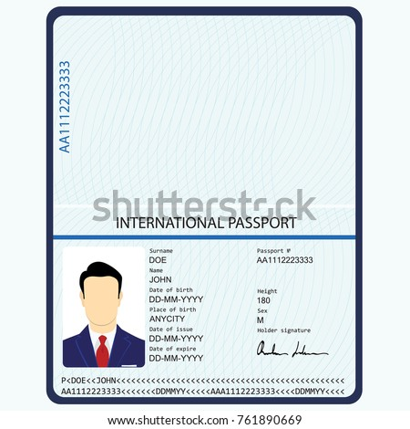 Passport stock images royalty free images vectors for Passport picture template