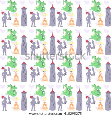 Vector illustration pattern of a Knight Fighting a Dragon. Fabulous set. Princess, Knight, dragon and tower. Cartoon and vector.  - stock vector