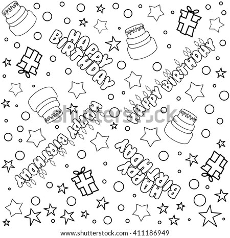 Vector illustration pattern of outline Happy Birthday text cake presents and stars. - stock vector