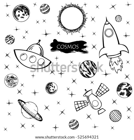 Vector illustration pattern with planets and stars on a white background. Space.