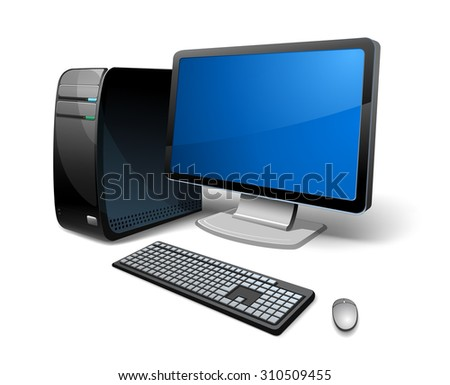 vector illustration PC computer, monitor. - stock vector