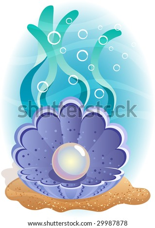 Vector illustration - Pearl in the shell at the bottom of the sea - stock vector