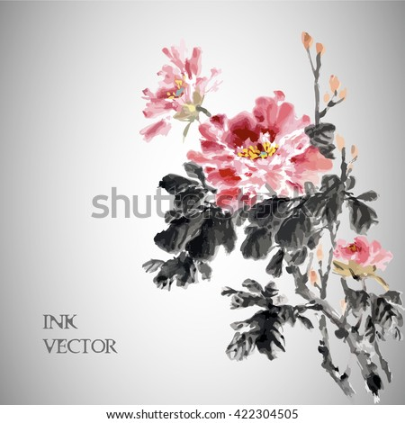 Vector illustration.Peony Flower,Traditional chinese ink painting.  - stock vector