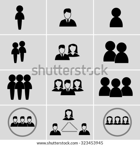 Vector illustration; people and teams icons set. Can be used in web and enterprise applications. - stock vector