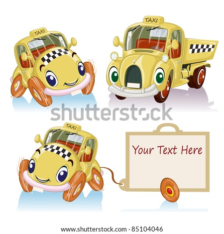 Vector illustration, personified banner taxi, cartoon concept, white background.