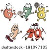 Vector illustration, personified numbers, cartoon concept, white background. - stock vector