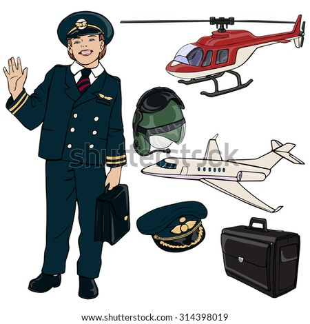 Vector illustration, pilot gear, cartoon concept, white background.