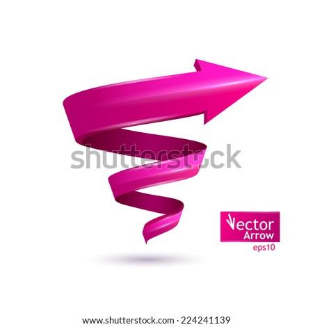 Vector illustration. Pink arrow, pointer, spiral - stock vector