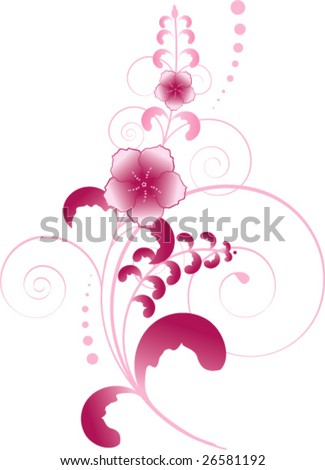 Vector illustration, pink flowers with swirls and leaves