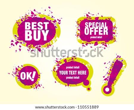 Vector illustration pink splash labels set on white background - stock vector