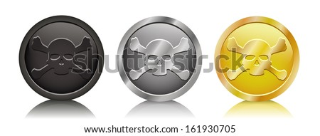Vector illustration pirate coins in three variation - stock vector