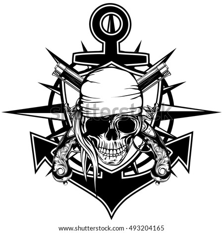 Vector illustration pirate emblem skull with bandana with crossed pistols and anchor