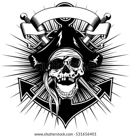 Vector illustration pirate sign skull in cocked hat with crossed daggers and anchor