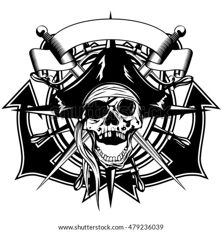Vector illustration pirate symbol skull in cocked hat with crossed daggers and crossed anchors and wheel
