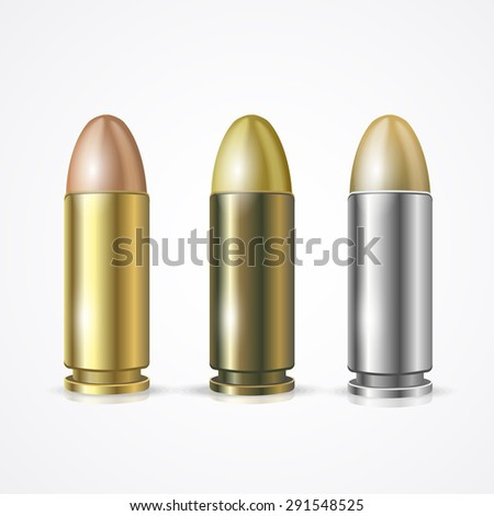 Vector illustration Pistol Bullet Set isolated on a white background. Symbol of hitting the target - stock vector