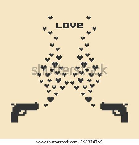 vector illustration /  pixel art / valentines day card - stock vector