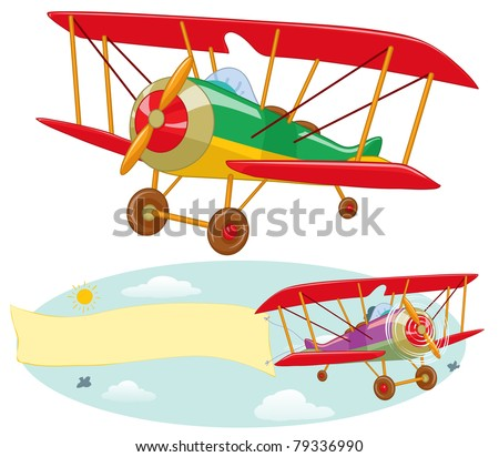 Vector illustration, plane, cartoon concept.