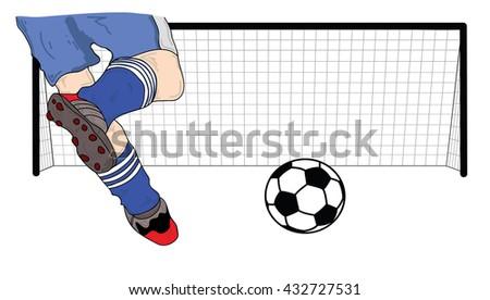 vector illustration player (footballer) running football and kick the ball - stock vector