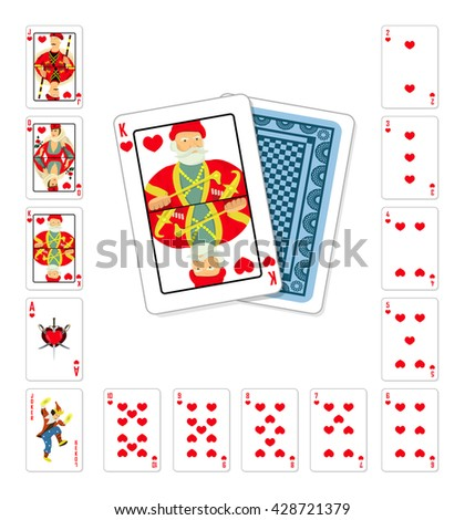 Vector illustration playing cards heart King classic design