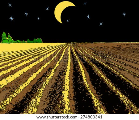 vector illustration plowed field at night illuminated by the moon - stock vector