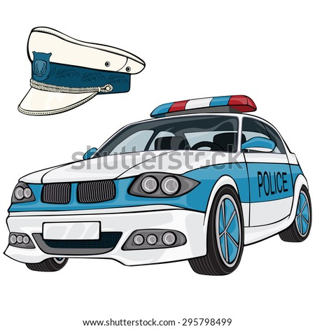 Vector illustration, police car and cap, cartoon concept, white background.