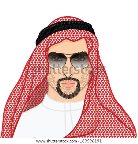 Vector illustration portrait of a Arab man in keffiyeh and sunglasses isolated on white.  - stock vector