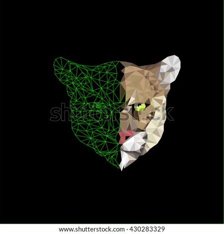 Vector illustration portrait of a big wild cat on a dark background - stock vector