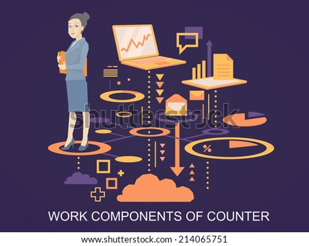 Vector illustration portrait of a woman counter keeps a folder with documents in hands stands on the scheme of her work components on dark background  - stock vector