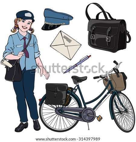 Vector illustration, postal employee gear, cartoon concept, white background.