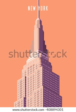 Vector illustration. Poster.Empire state building high-rise building, tourist attraction in the isometric perspective in New York. Cartoon style. - stock vector