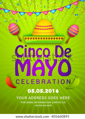 Vector illustration poster or party flyer of Cinco De Mayo with stylish typography celebration background. - stock vector