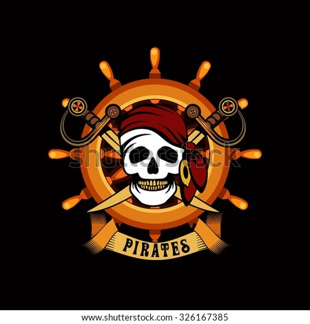 vector illustration poster with a human skull on a background helm marine emblem Jolly Roger on black background - stock vector