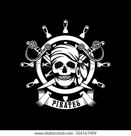 vector illustration poster with a human skull on a background of sea helm Jolly Roger emblem Black and white in color - stock vector