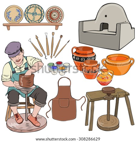 Vector illustration, potter gear, cartoon concept, white background.