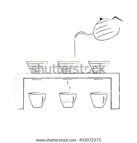 Vector illustration : Pour over - coffee maker. Hand-drawn coffee  drip. - stock vector