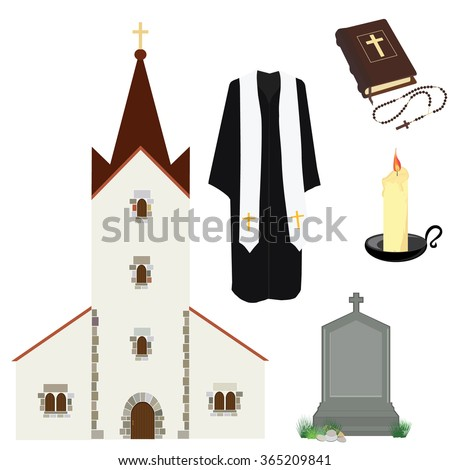 Vector illustration prayer priest pastor or preacher clothing. Holy Bible and rosary beads with cross. Gravestone and church building. Religion symbols - stock vector