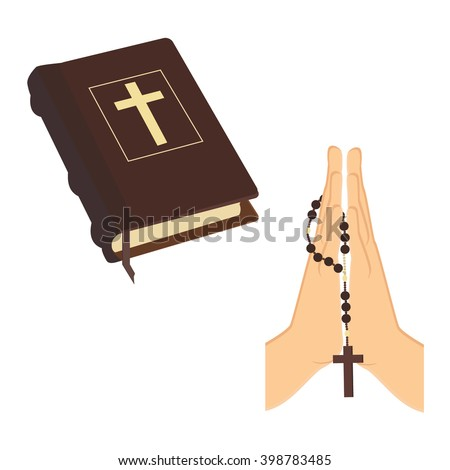 Vector illustration praying hands holding brown wooden catholic rosary beads and Holy Bible. Religious symbols. Praying symbol. Hands prayer icon - stock vector