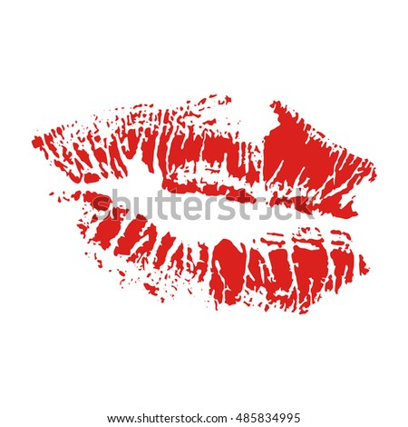 Vector illustration print of red lips. Lipstick kiss on white background